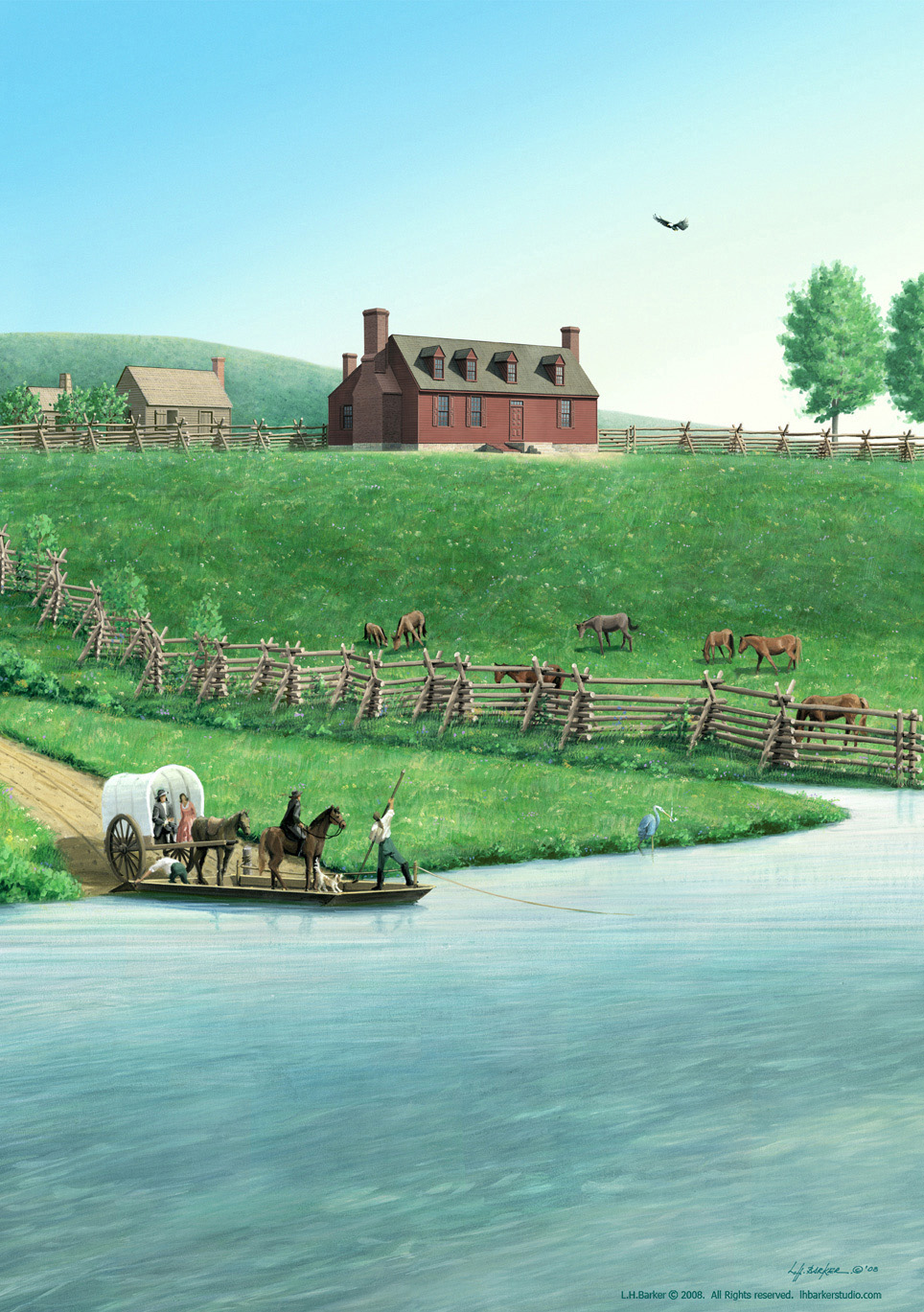 George Washington's Boyhood home, Ferry Farm, Fredericksburg, VA, Suite of 2, L.H.Barker (c) 2008. All rights   reserved.