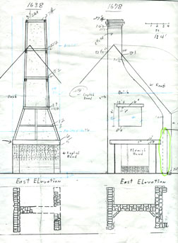 1638 and 1678 chimney elevations and plans