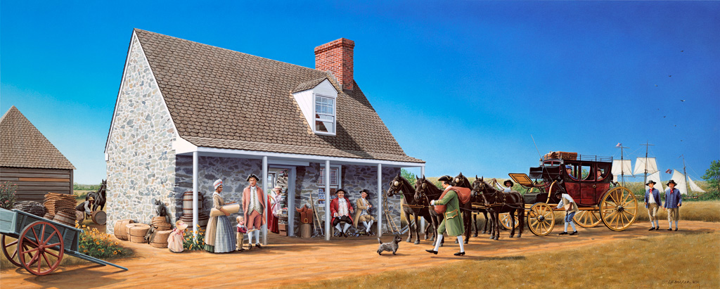 Market Master's House circa   1777, Bladensburg Paintings, suite of 3, L.H.Barker (c) 2011. All rights reserved.