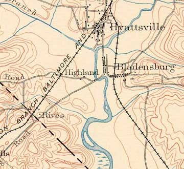 1886 USGS map; the Rives property mentioned in battle accounts