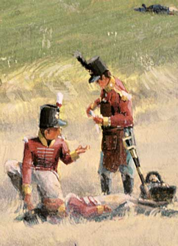 Painting detail,  field surgeons attending the wounded, Battle of Bladensburg