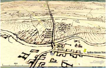 1814 D. Evans map superimposed in perspective, Bladensburg Battle