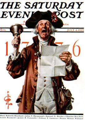 Norman Rockwell's 1925 take of a colonial town crier.
