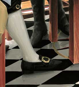 Henderson's shoes and stockings in the finished artwork