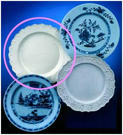 colonial feathered creamware  used in  the historical  illustration