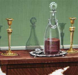 Colonial sideboard, wine decanter & brass candlesticks