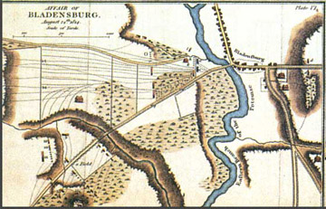 Affair of Bladensburg, 1816 Map inset, War of 1812