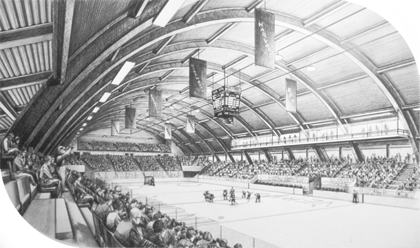 University of Vermont Arena, suite of 9. L.H.Barker (c)   1987. All rights reserved.